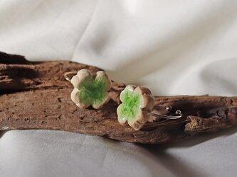 新作【信楽焼】 幸運を呼ぶClover 陶器ピアス(イヤリング) 伝統工芸 Japan  Traditionalの画像