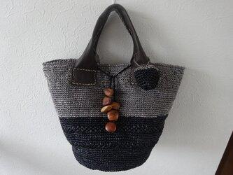 黒 グレイのツートンカラーのバッグの画像