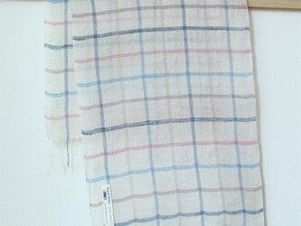 手織り・草木染め リネンストール 格子の画像