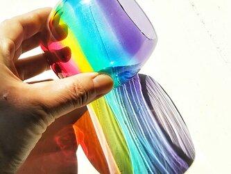 虹色のまんまるグラス  パープルリップ✱ご注文前にメッセージをお願いしますの画像
