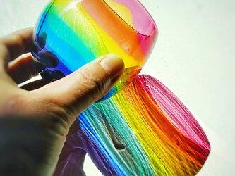 虹色のまんまるグラス ゴールドルビーリップ✱ご注文前にメッセージをお願いしますの画像