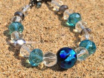 男女兼用 ブレスレット とんぼ玉 12mm ほたる玉 ガラス ビーズ 琉球 沖縄 お土産 ユニセックス ブルーの画像
