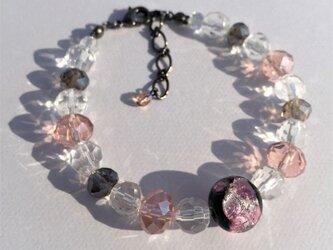 男女兼用 ブレスレット とんぼ玉 12mm ほたる玉 ガラス ビーズ 琉球 沖縄 お土産 ユニセックス ピンクの画像