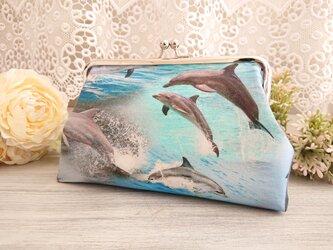 ◆ホットサマーのイルカがま口ポーチ*海オーシャン夏ダイビング旅行やプレゼントにの画像