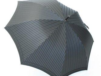 【紳士 雨傘 ジャンプ傘】 Tie Stripe×Plain BLACKの画像