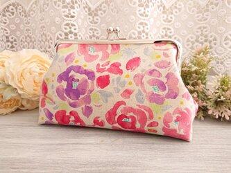 ◆【再販2】北欧ローズのがま口ポーチ*バラ薔薇花柄旅行やプレゼントにの画像