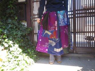 コロナにまけるな☆応援お値引き価格☆着物リメイク銘仙パッチスカートレトロポップ80㎝丈の画像