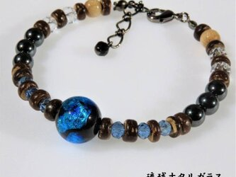 とんぼ玉 ブレスレット メンズ MLサイズ ヘマタイト ほたる玉 12mm 沖縄 琉球 お土産 工芸 ブルーの画像