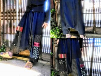 コロナにまけるな応援お値引き価格☆古布リメイク☆自然染と古布でおとなサルエルパンツ☆藍染めに絣や縞木綿♪の画像