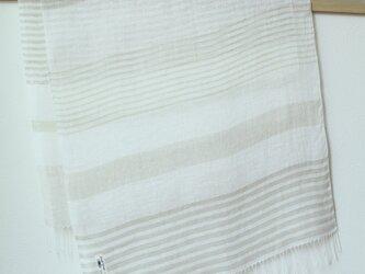 手織り・草木染め リネン大判ストール ボーダーの画像