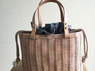 手編みの籐かごバッグ/Megg  Bag panier/グレー/シャンブレー/かごバッグの画像
