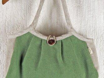 草木染 麻キャンバスのグラニーバッグ 緑の画像