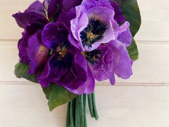 布花 Purple pansy corsage Aの画像