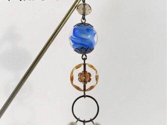 かんざし とんぼ玉 チェコビーズ コットンパール 一本 普段使い 大阪 ガラス 工芸 ビーズ 送料無料 ブルー 青の画像
