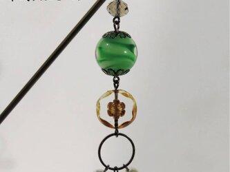 かんざし とんぼ玉 チェコビーズ コットンパール 一本 普段使い 大阪 ガラス 工芸 ビーズ 送料無料 グリーン 緑の画像