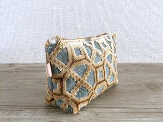 モロッカン生地で作った幾何学模様のポーチ プレスティジア マチつきの画像