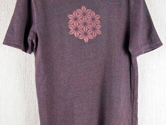 草木染 ヘンプ/オーガニックコットンのTシャツ  麻の葉 紫 メンズMサイズの画像