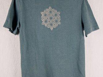 草木染 ヘンプ/オーガニックコットンのTシャツ  麻の葉 灰 メンズMサイズの画像