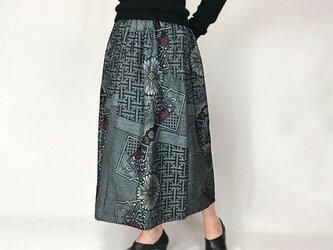 きものリメイクロングスカート、大島、フリーサイズの画像
