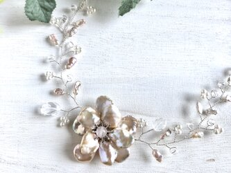 芥子パールのお花ネックレス 2004001Nの画像