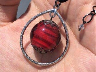 ネックレス とんぼ玉 雫 大粒 20mm 和小物 アクセサリー 大阪 ガラス 工芸 ビーズ 送料無料 レッド 赤の画像