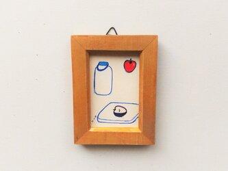 「リンゴ」小さな絵/一点物/原画 ※額入りの画像