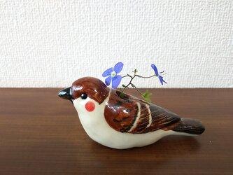 雀の一輪挿し(陶器)の画像