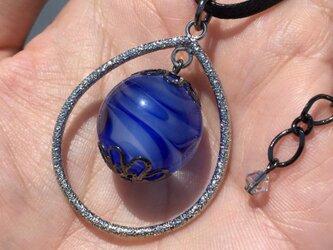 ネックレス とんぼ玉 雫 大粒 20mm 和小物 アクセサリー 大阪 ガラス 工芸 ビーズ 送料無料 ブルー 青の画像