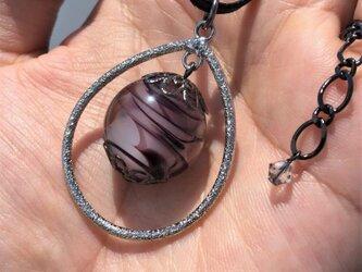 ネックレス とんぼ玉 雫 大粒 20mm 和小物 アクセサリー 大阪 ガラス 工芸 ビーズ 送料無料 パープル 紫の画像