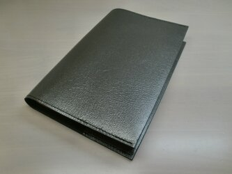 ハヤカワ文庫トールサイズ対応・ピッグスキン・ガンメタリック・一枚革のブックカバー・0426の画像