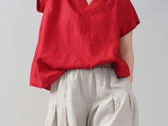 【wafu】やや薄地 リネン ブラウス トップス 禅 着物襟 和装 ラグランスリーブ リネン100%/赤紅 t028e-akb1の画像