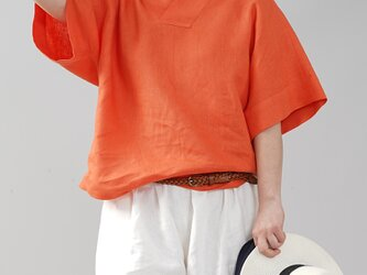 【wafu】中厚 リネン 着物襟 ブラウス トップス 禅 リネン100% 半袖/バーミリオン t010c-vmi2の画像