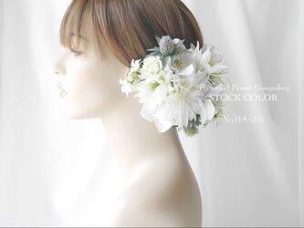 ダリアとクリスマスローズのヘッドドレス/ヘアアクセサリー(グリーンホワイト)*結婚式・成人式・ウェディングドレスにの画像