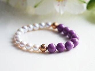 フォスフォシデライトと淡水真珠のバイカラーブレスレット ~Rosemondeの画像