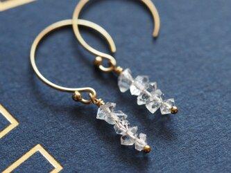 14kgf:小粒ハーキマーダイヤモンドのシンプルピアス(№9052)の画像