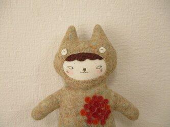 「お花アップリケ猫」のペンケース P26の画像