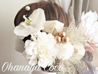 花kirari 真っ白ダリアと胡蝶蘭の髪飾り13点Set No734の画像