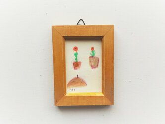 「庭のお話」小さな絵/一点物/原画 ※額入りの画像