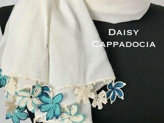 刺繍のお花付き オーガニックコットンストール(綿100%)ホワイト&グリーンミックスの画像