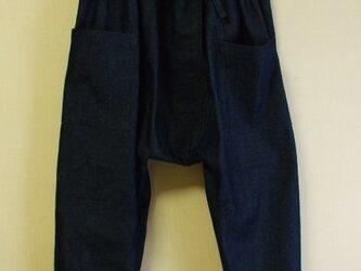 サルエルパンツ 8オンスデニム 濃いめの紺色  綿100% L~LLサイズ 受注生産の画像