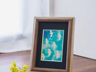 水彩原画『blue sky』日々を愉しむちいさな絵 額装品の画像