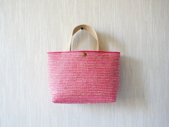 裂き織りのバッグS  ピンク×ミルクベージュの画像