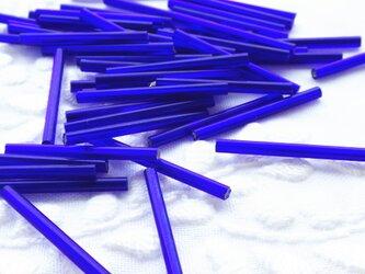 (50本) チューブビーズ 30mm ブルー チェコ製の画像
