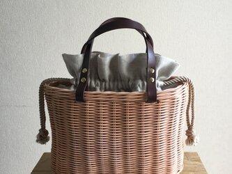 手編みの籐かごバッグ/Megg  Bag panier/麻/ベージュ/かごバッグの画像