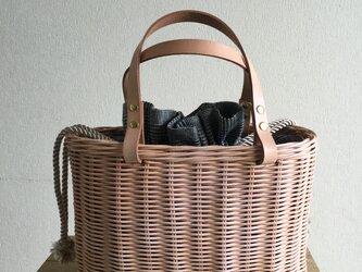 手編みの籐かごバッグ/Megg  Bag panier/グレンチェック /かごバッグの画像
