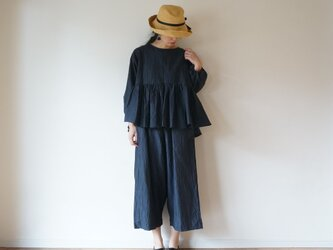 Linen washers gather blouse NAVYの画像