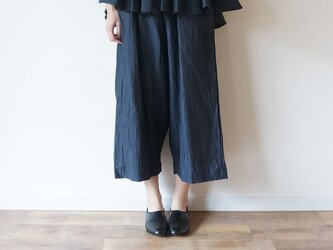 Linen washers Wide pants NAVYの画像
