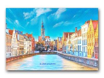 「色鉛筆が会話する街並み」 ほっこり癒しのイラストポストカード2枚組 No.1030の画像