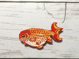 手刺繍日本画ブローチ*栗本丹州「博物館魚譜」の金魚(らんちゅう)の画像