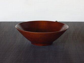 縁白柿渋摺漆中鉢 カエデ 22.5cm x 7.5cmの画像